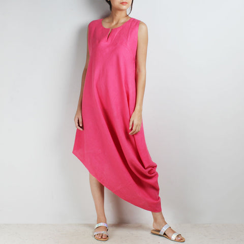 Pink Knee Length Bali High Side Cowl Linen Dress by Kaveri / K Clothing