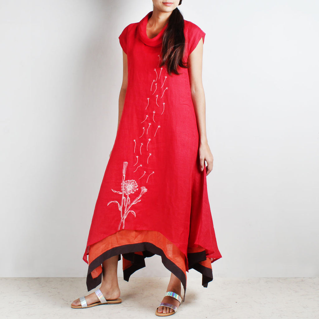 Red Three Layer Asymmetrical Flower Embroidered Linen Dress by Kaveri / K Clothing