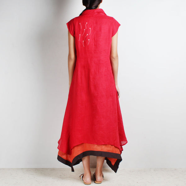 Red Three Layer Asymmetrical Flower Embroidered Linen Dress