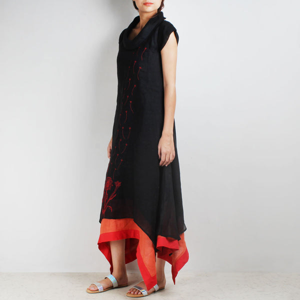Black Three Layer Asymmetrical Flower Embroidered Linen Dress