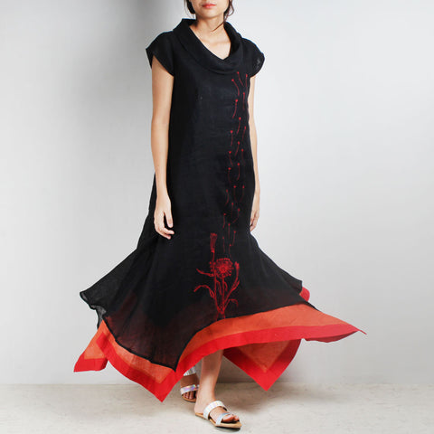 Black Three Layer Asymmetrical Flower Embroidered Linen Dress by Kaveri / K Clothing
