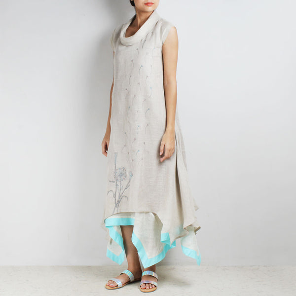 Off White Three Layer Asymmetrical Flower Embroidered Linen Dress