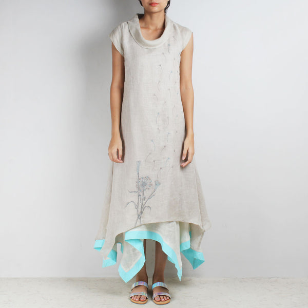 Off White Three Layer Asymmetrical Flower Embroidered Linen Dress by Kaveri / K Clothing