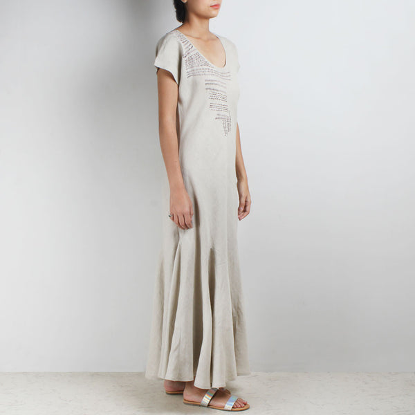 Beige Long And Short Stich Linen Dress