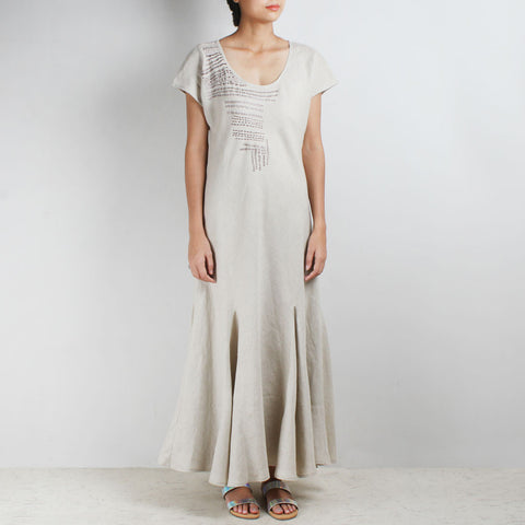 Beige Long And Short Stich Linen Dress by Kaveri / K Clothing
