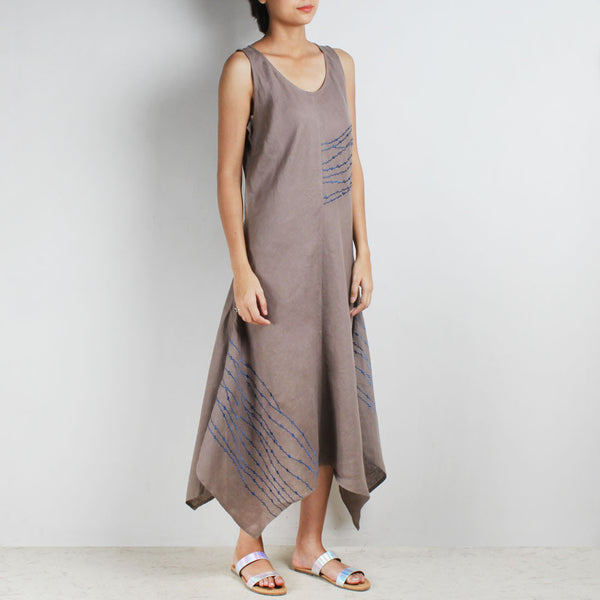 Zig Zag Embroidered Hanky Hem Linen Dress