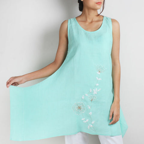 Light Blue Whimsical 3-D Flower Embroidered Two Way Linen Tunic by Kaveri / K Clothing