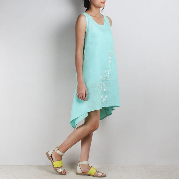 Light Blue Whimsical 3-D Flower Embroidered Two Way Linen Tunic