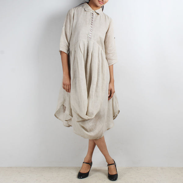 Beige Front Cowl Collared Dress