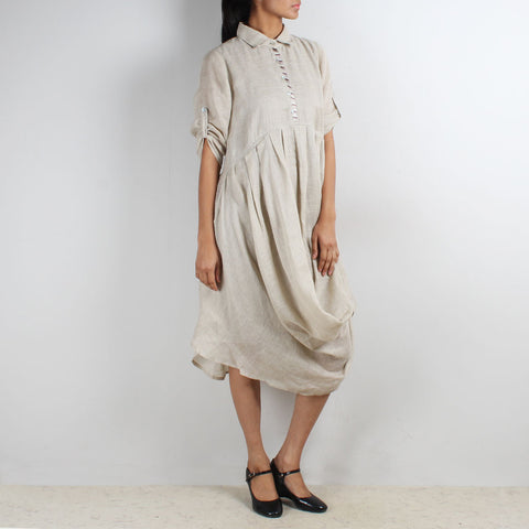 Beige Front Cowl Collared Dress by Kaveri / K Clothing