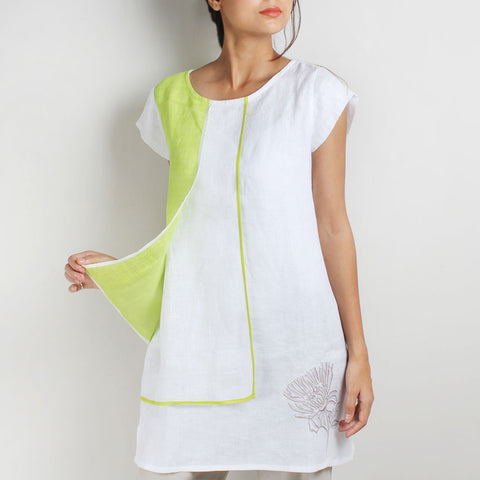 Flower Embroidered Semi-Layered White & Lime Green Linen Tunic by Kaveri / K Clothing