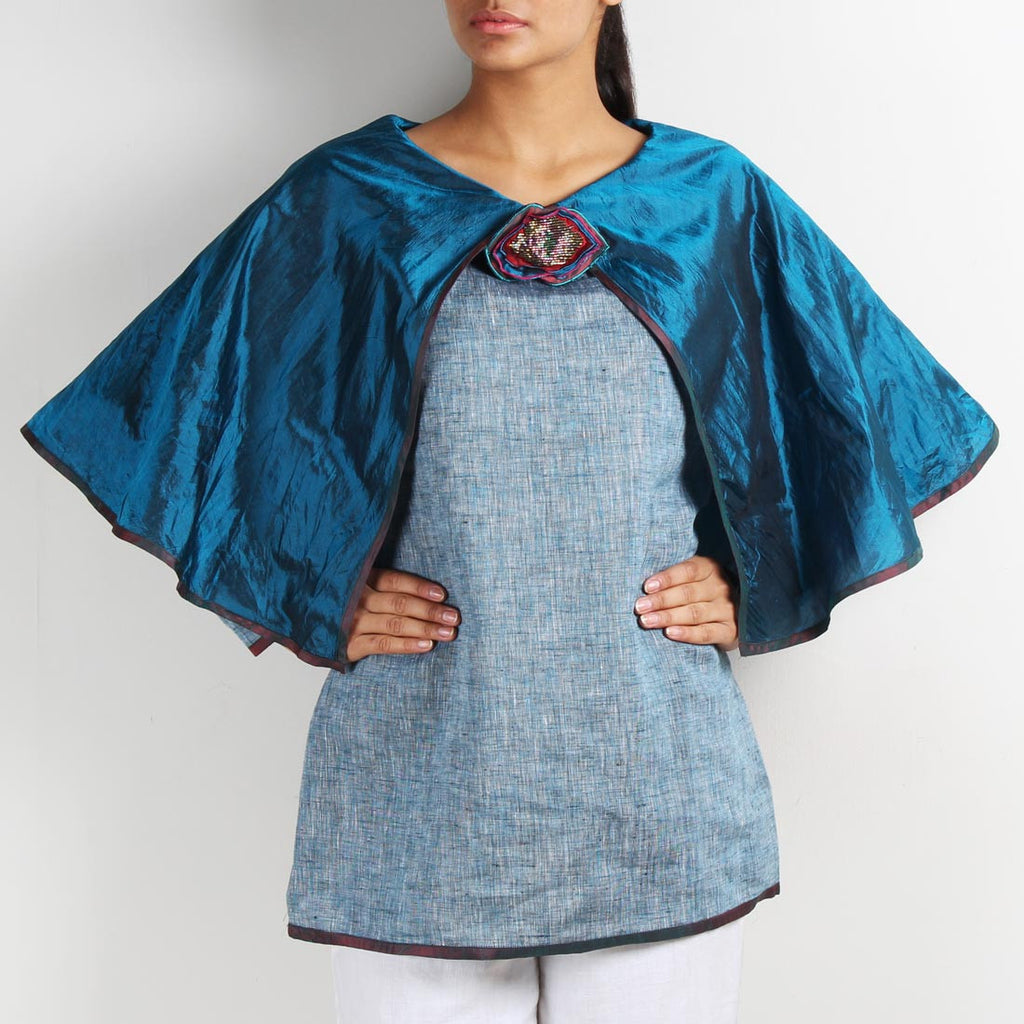 Blue Linen Butterfly Poncho Top with Brooch by Kaveri / K Clothing