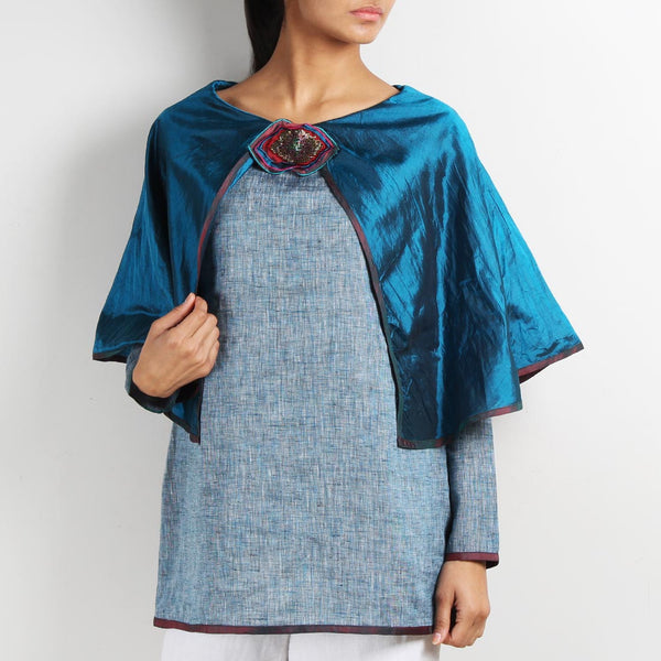 Blue Linen Butterfly Poncho Top with Brooch