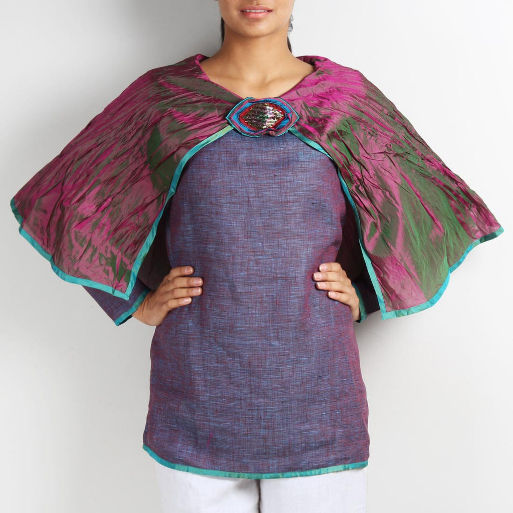Pink Linen Butterfly Poncho Top with Brooch by Kaveri / K Clothing
