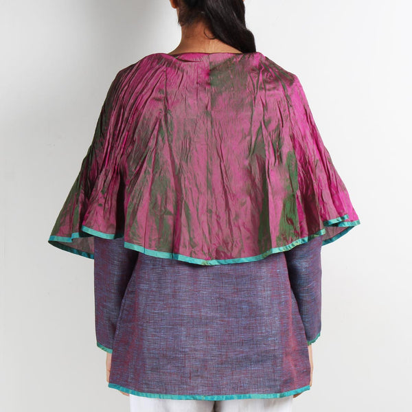 Pink Linen Butterfly Poncho Top with Brooch