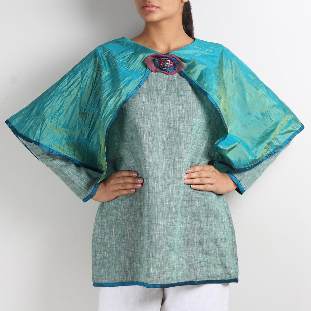 Green Linen Butterfly Poncho Top with Brooch by Kaveri / K Clothing
