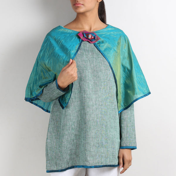 Green Linen Butterfly Poncho Top with Brooch