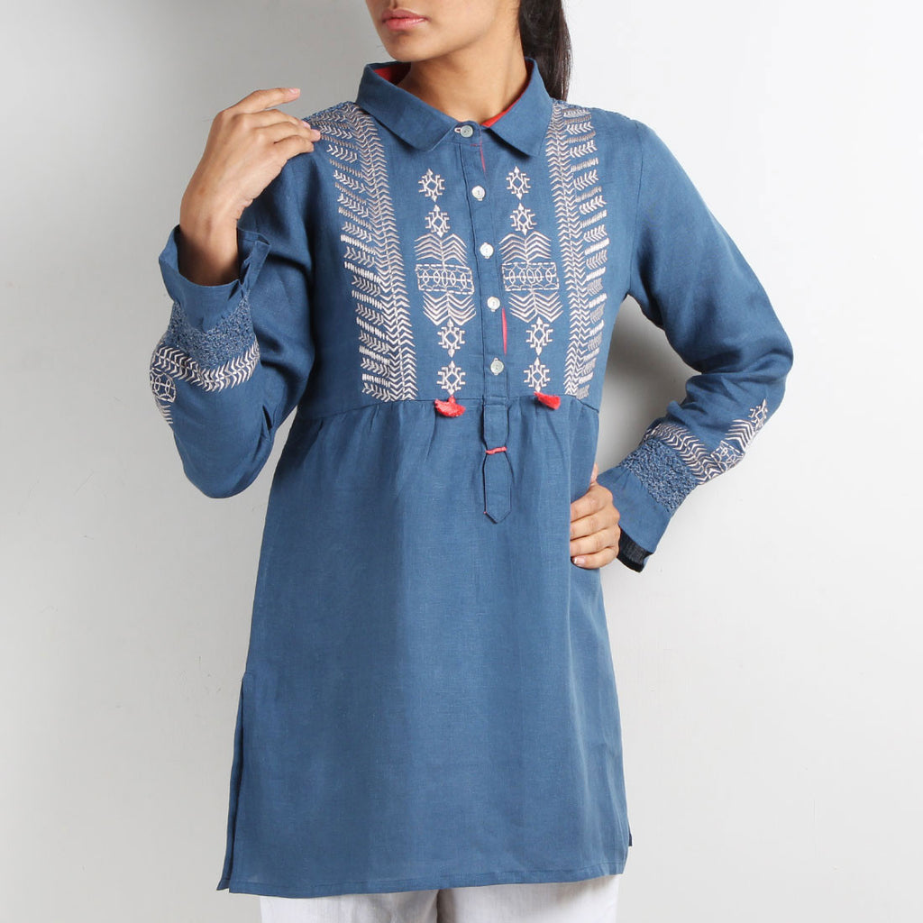 Tribal Embroidery Top with Smocked Back by Kaveri / K Clothing