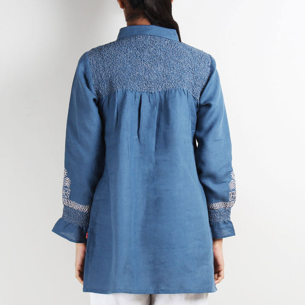 Tribal Embroidery Top with Smocked Back