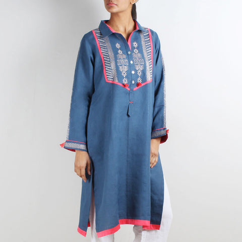 Shirt Style Tribal Embroidered Tunic by Kaveri / K Clothing
