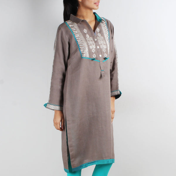 Beige Shirt Style Tribal Embroidered Tunic