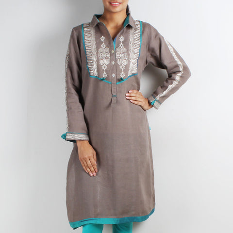 Beige Shirt Style Tribal Embroidered Tunic by Kaveri / K Clothing