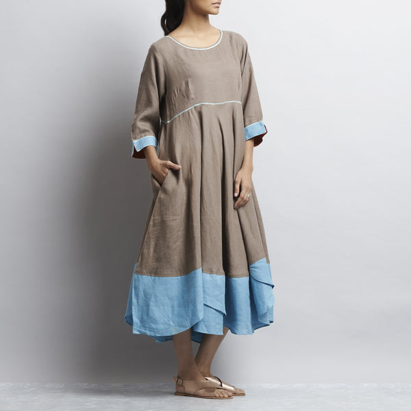 Brown Linen Autumn Leaves Dress With Contrast Embroidery