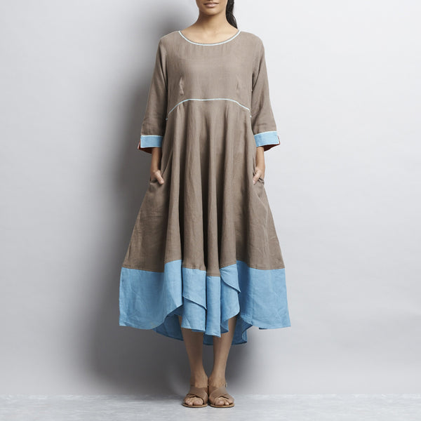Brown Linen Autumn Leaves Dress With Contrast Embroidery by Kaveri / K Clothing