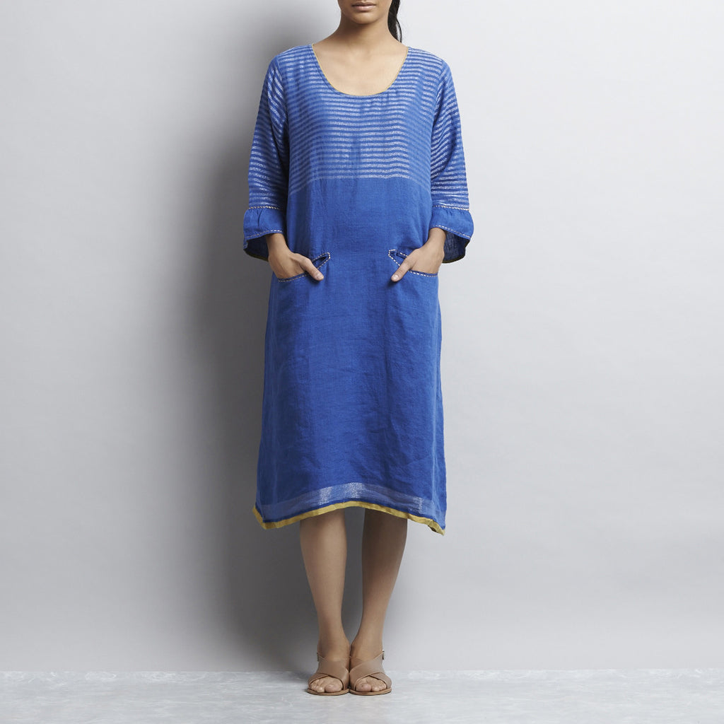 Blue Linen Indigo Zari Dress With Comtrast Line Embroidery by Kaveri / K Clothing