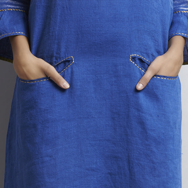 Blue Linen Indigo Zari Dress With Comtrast Line Embroidery