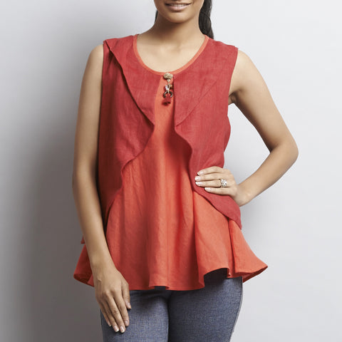 Red Linen Double Layer Butterfly Top With Tassles by Kaveri / K Clothing