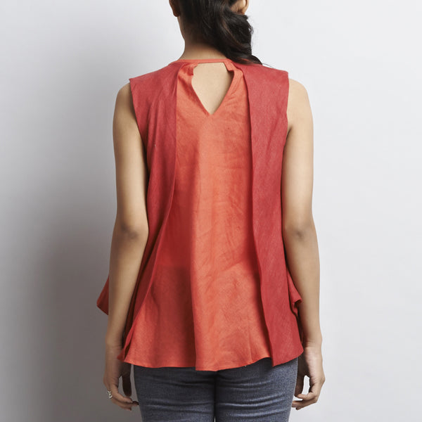 Red Linen Double Layer Butterfly Top With Tassles