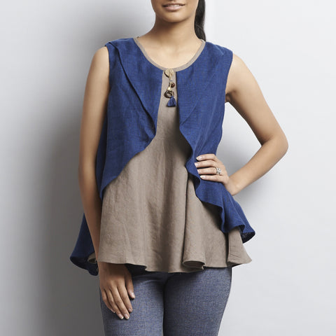 Brown Linen Double Layer Butterfly Top With Tassles by Kaveri / K Clothing