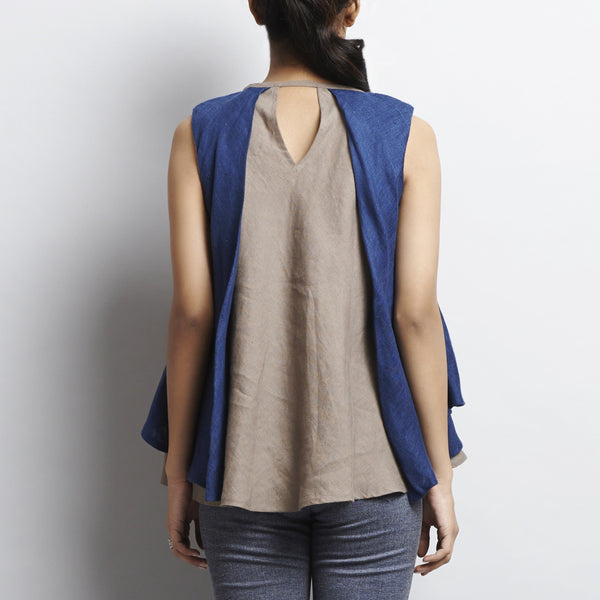 Brown Linen Double Layer Butterfly Top With Tassles