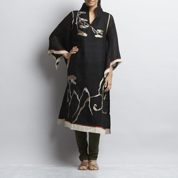 Multi Linen Chinese Painting Tunic With Kimono Sleeves