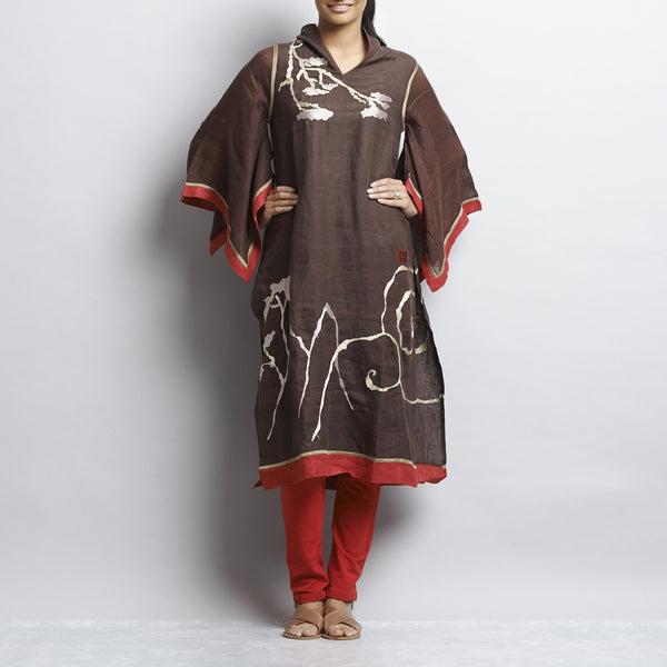 Brown Linen Chinese Painting Tunic With Kimono Sleeves by Kaveri / K Clothing