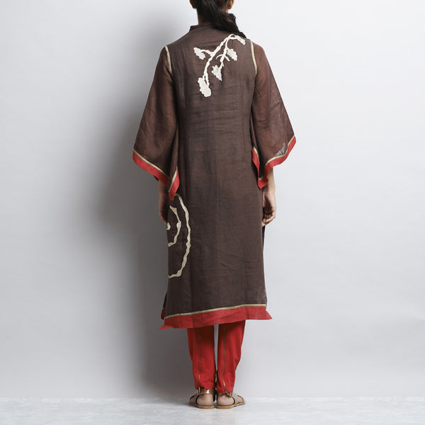Brown Linen Chinese Painting Tunic With Kimono Sleeves