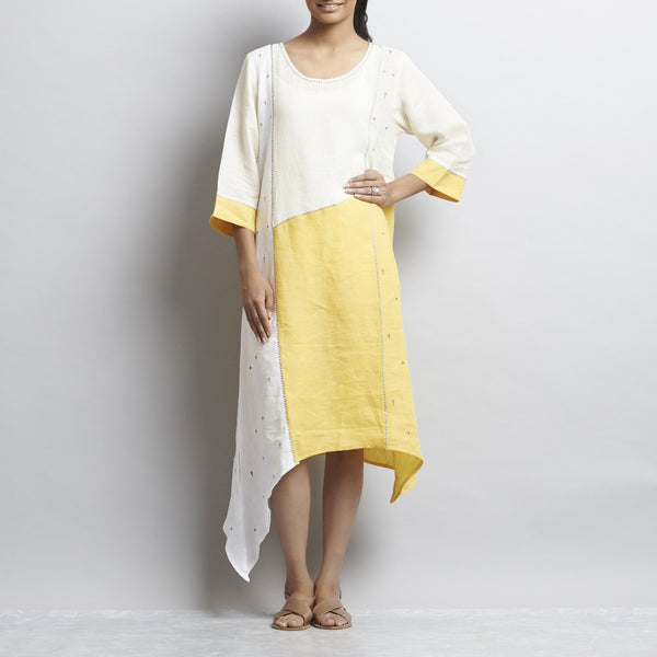 Offwhite And Yellow Linen Patchwork Tunic With Delicate Embroidery by Kaveri / K Clothing