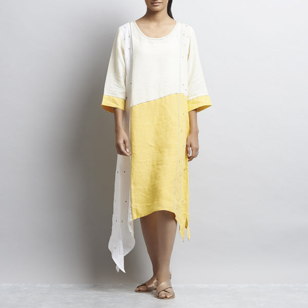 Offwhite And Yellow Linen Patchwork Tunic With Delicate Embroidery