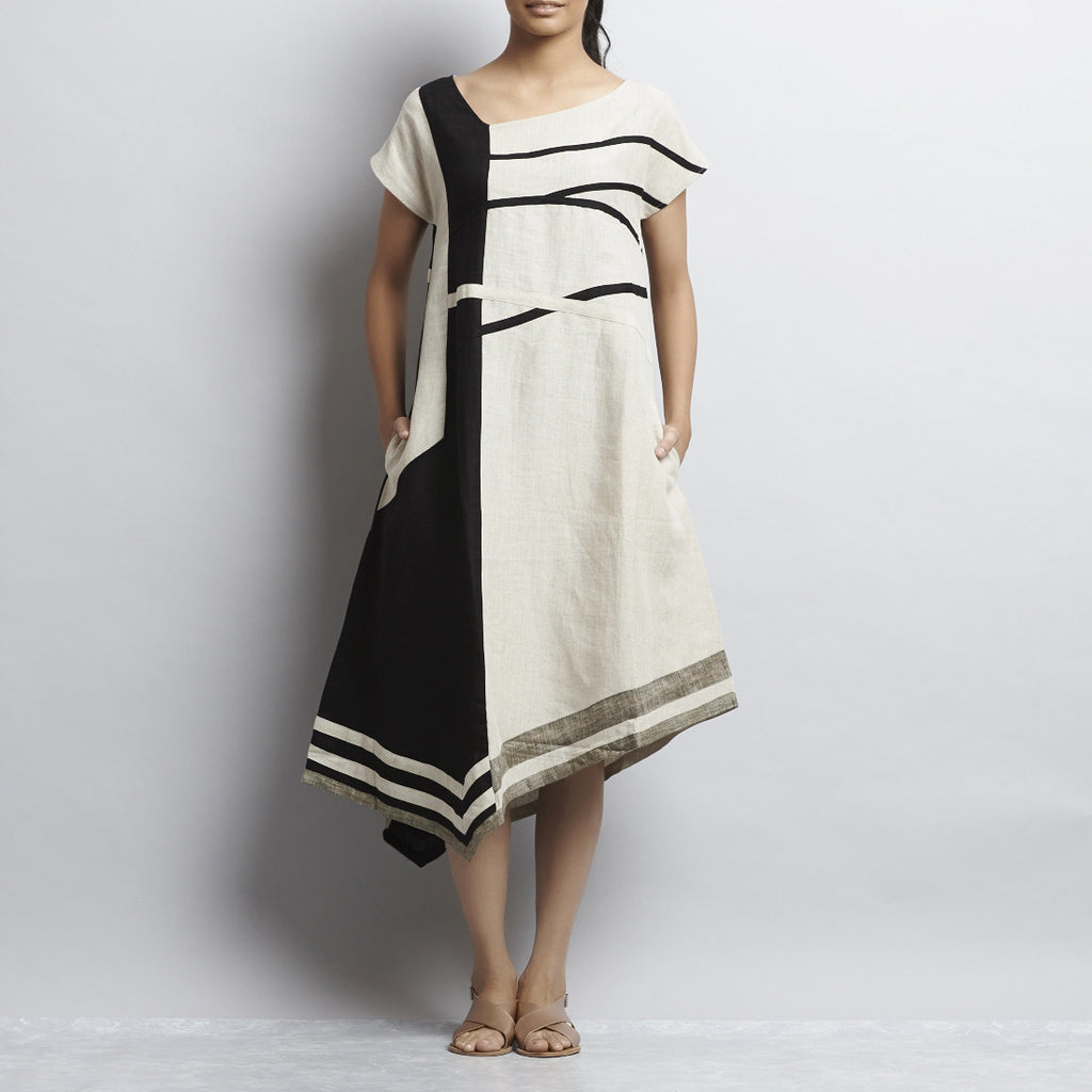 White And Black Linen Stripes Patchwork Dress by Kaveri / K Clothing