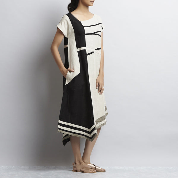 White And Black Linen Stripes Patchwork Dress