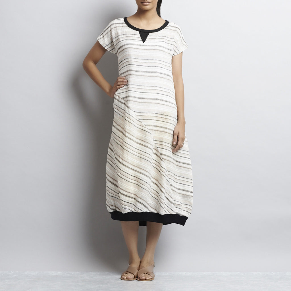 White Grey And Black Linen Mitering Dress With Side Pockets by Kaveri / K Clothing
