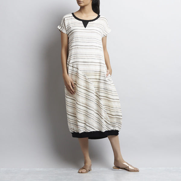 White Grey And Black Linen Mitering Dress With Side Pockets