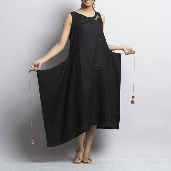 Black Linen One Side Folded Tassel Dress With Dragonfly Embroidery