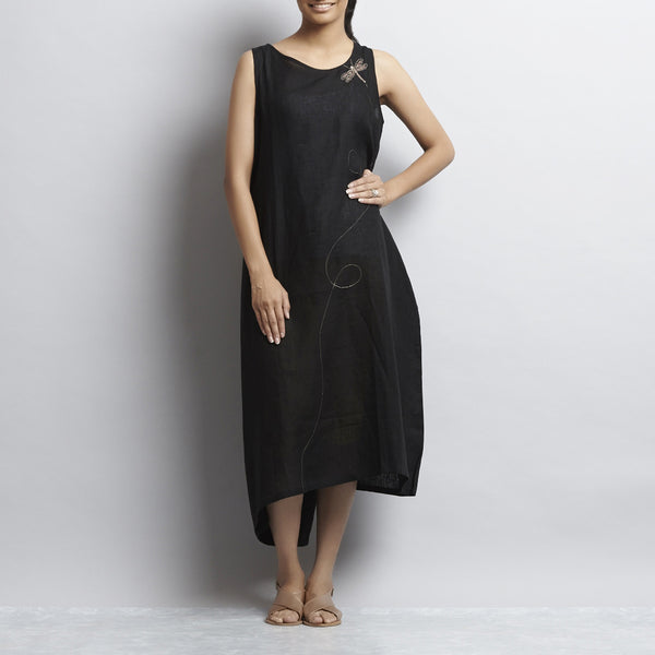 Black Linen One Side Folded Tassel Dress With Dragonfly Embroidery by Kaveri / K Clothing