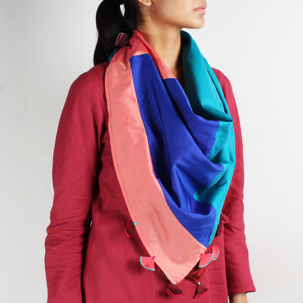 Multicolor Patchwork Silk Scarf