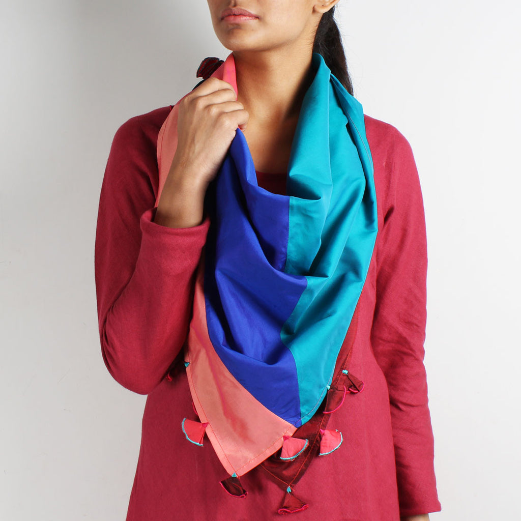 Multicolor Patchwork Silk Scarf by Kaveri / K Clothing