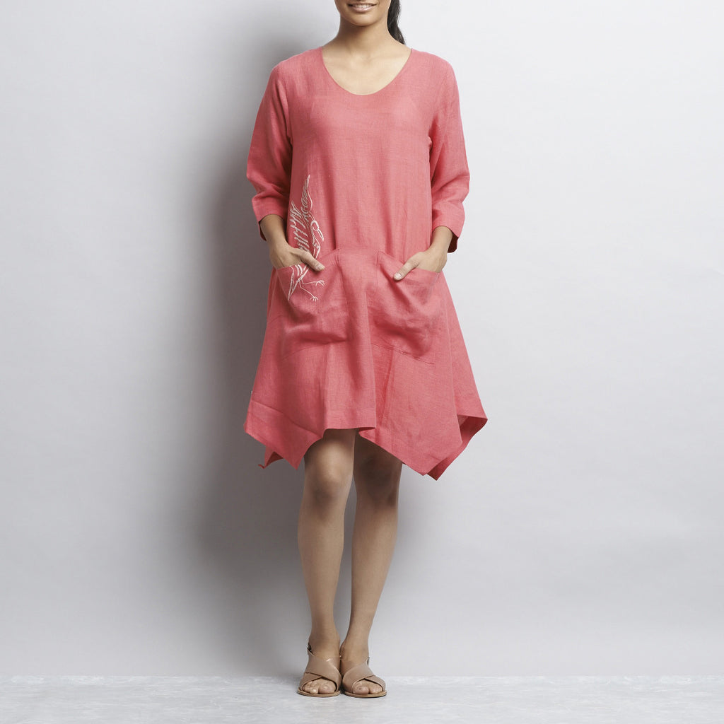 Pink Linen Asymmetrical Tunic With Front Pockets And Bird Embroidery by Kaveri / K Clothing