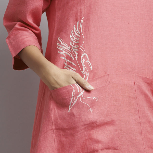 Pink Linen Asymmetrical Tunic With Front Pockets And Bird Embroidery