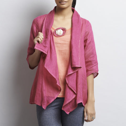 Pink Linen Button Jacket With Embroidery by Kaveri / K Clothing